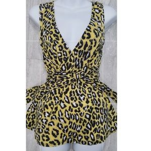 New INC Yellow leopard lo cut top blouse with tie